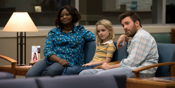 (From L-R): Octavia Spencer as Roberta Taylor, McKenna Grace as Mary Adler and Chris Evans as Frank Adler in the film GIFTED. Photo by Wilson Webb. © 2017 Twentieth Century Fox Film Corporation All Rights Reserved